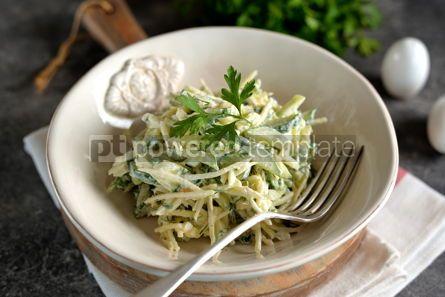 Food & Drink: Salad of kohlrabi cucumber green onions dill eggs with yogurt Healthy food #14220