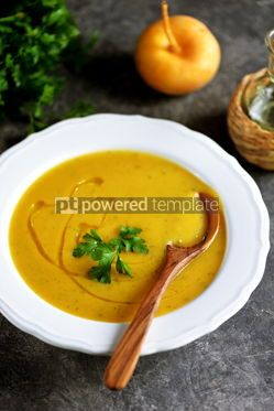 Food & Drink: Cream soup of turnips and carrots Healthy wholesome homemade food #14222