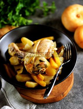 Food & Drink: Baked chicken drumsticks with potatoes turnips carrots and cilantro #14224
