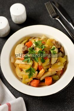 Food & Drink: Baked potatoes carrots turnips onions eggplant and zucchini with olive oil #14226