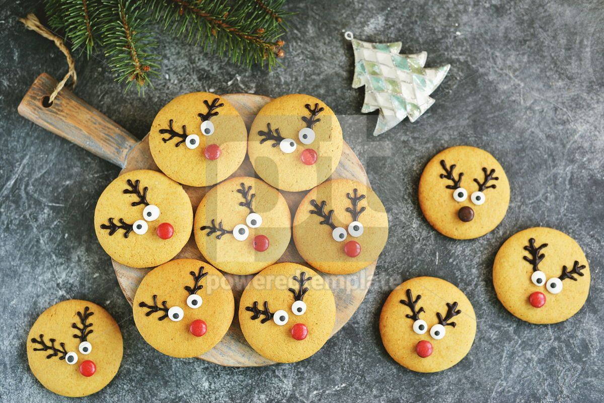 Cute New Year and Christmas gingerbreads Santa Deer Homemade Christmas baking, 14266, Food & Drink — PoweredTemplate.com