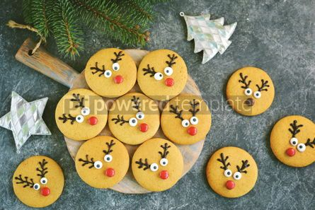 Food & Drink: Cute New Year and Christmas gingerbreads Santa Deer Homemade Christmas baking #14267