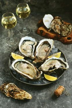 Food & Drink: Giant fresh uncooked oyster in a shell with lemon on ice Healthly food #14280
