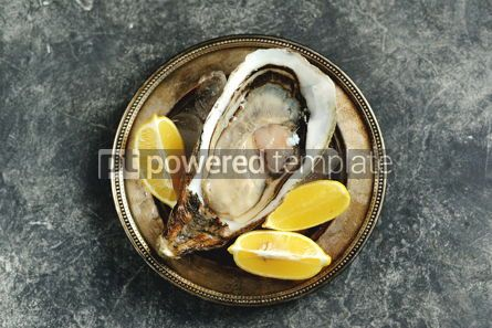 Food & Drink: Giant fresh uncooked oyster in a shell with lemon on ice Healthly food Top view #14285