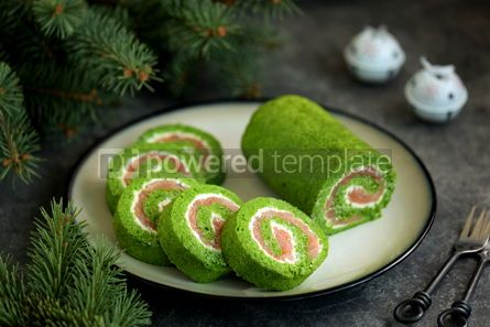 Food & Drink: Homemade spinach roll with smoked salmon and cream cheese Healthy food #14290