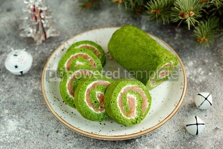 Food & Drink: Homemade spinach roll with smoked salmon and cream cheese Healthy food #14292