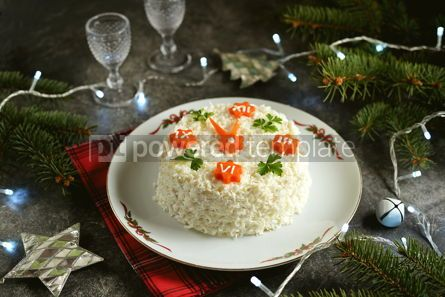 "Food & Drink: New Year's holiday salad ""Clock"" Traditional russian salad #14297"