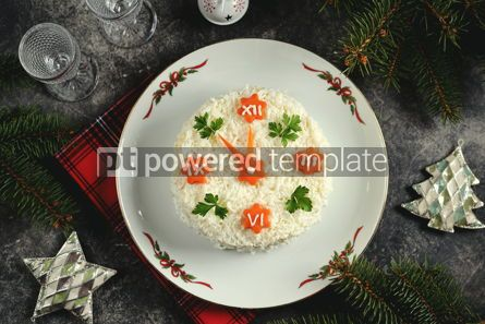 """Food & Drink: New Year's holiday salad """"Clock"""" Traditional russian salad Top view #14298"""