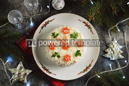 """Food & Drink: New Year's holiday salad """"Clock"""" Traditional russian salad Top view #14299"""