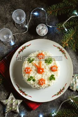 """Food & Drink: New Year's holiday salad """"Clock"""" Traditional russian salad Top view #14300"""