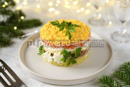 "Food & Drink: Traditional New Year's Russian salad ""Mimosa"" with canned fish potatoes carrots and eggs #14307"