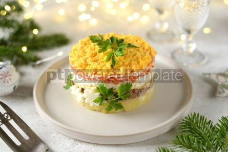 "Food & Drink: Traditional New Year's Russian salad ""Mimosa"" with canned fish potatoes carrots and eggs #14308"