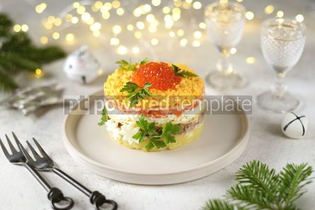"Food & Drink: Traditional New Year's Russian salad ""Mimosa"" with red caviar #14310"
