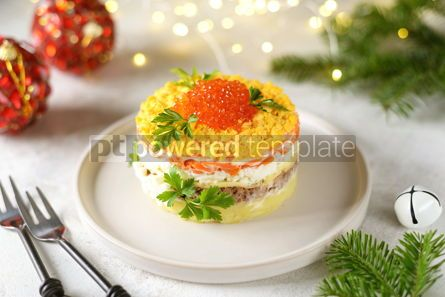 "Food & Drink: Traditional New Year's Russian salad ""Mimosa"" with red caviar #14312"