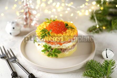 "Food & Drink: Traditional New Year's Russian salad ""Mimosa"" with red caviar #14313"