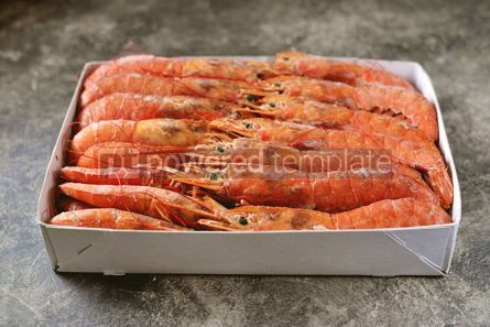 Food & Drink: Frozen langoustines big shrimps in a paper box Healthy food #14350