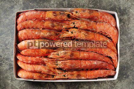 Food & Drink: Frozen langoustines big shrimps in a paper box Healthy food #14351