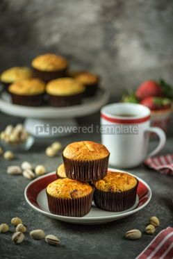 Food & Drink: Healthy organic muffins made from cottage cheese whole grain flour with dried cranberries #14396