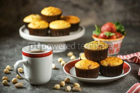 Food & Drink: Healthy organic muffins made from cottage cheese whole grain flour with dried cranberries #14398
