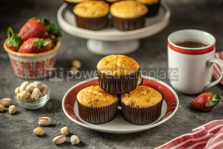 Food & Drink: Healthy organic muffins made from cottage cheese whole grain flour with dried cranberries #14399