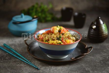 Food & Drink: Fried rice with green peas shrimp chicken onions soy sauce and hot pepper Healthy food #14434