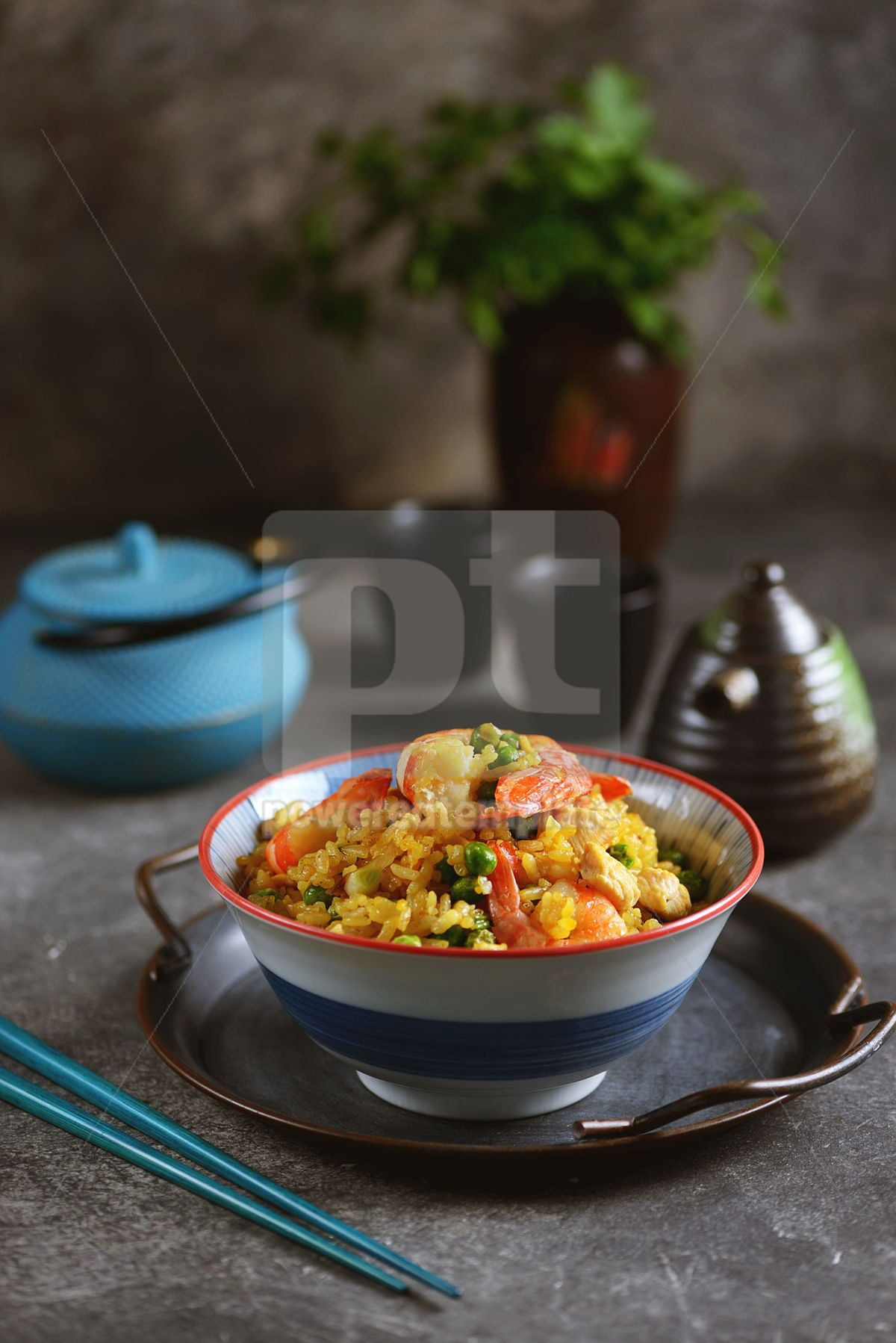 Fried rice with green peas shrimp chicken onions soy sauce and hot pepper Healthy food, 14436, Food & Drink — PoweredTemplate.com