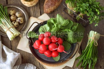 Food & Drink: Fresh spring radish with wild garlic parsley and quail eggs on a wooden background #14459