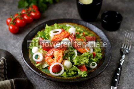 Food & Drink: Salad with fried langoustines with mozzarella cherry tomatoes red onion lettuce and olive oil #14561