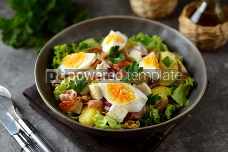 Food & Drink: Salad with potatoes bacon olives feta cheese egg and lettuce #14565