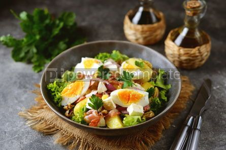 Food & Drink: Salad with potatoes bacon olives feta cheese egg and lettuce #14566