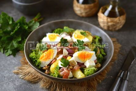 Food & Drink: Salad with potatoes bacon olives feta cheese egg and lettuce #14567