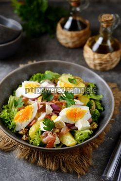 Food & Drink: Salad with potatoes bacon olives feta cheese egg and lettuce #14568