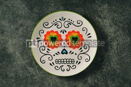 Food & Drink: Plate for Halloween party on a dark background Top view #14592