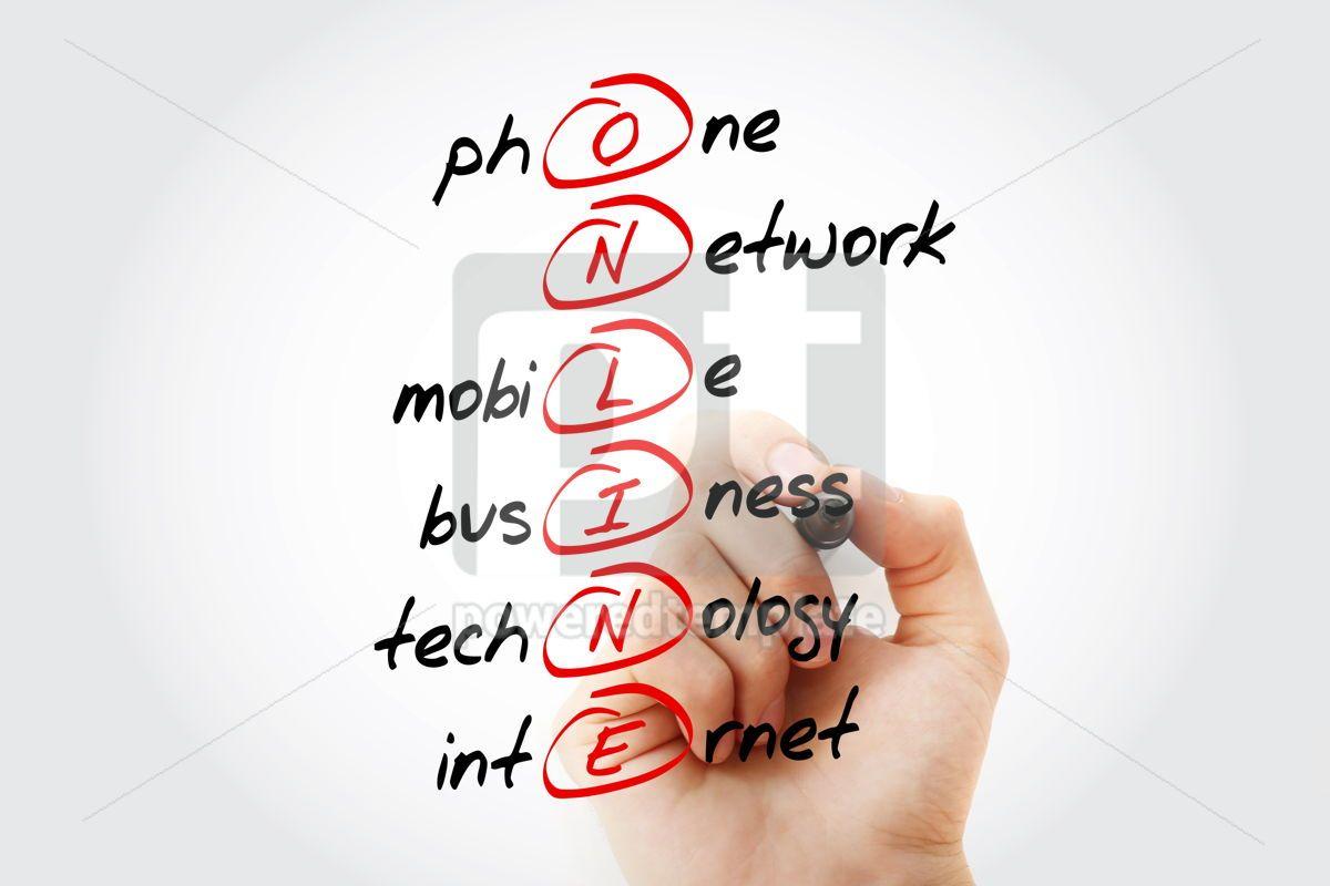 ONLINE acronym business concept background, 14619, Business — PoweredTemplate.com