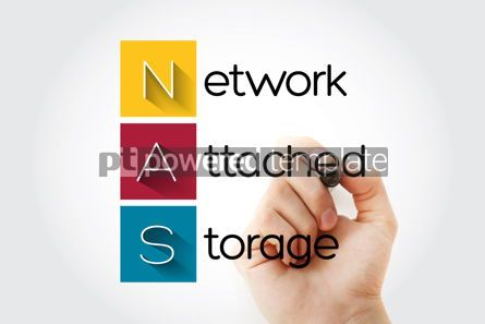 Business: NAS - Network Attached Storage acronym technology concept backg #14635