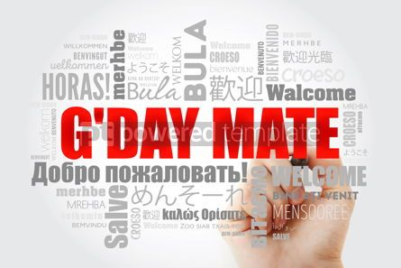 Business: G'day Mate Welcome in Australian word cloud in different langu #14681