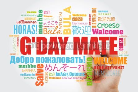 Business: G'day Mate Welcome in Australian word cloud in different langu #14683