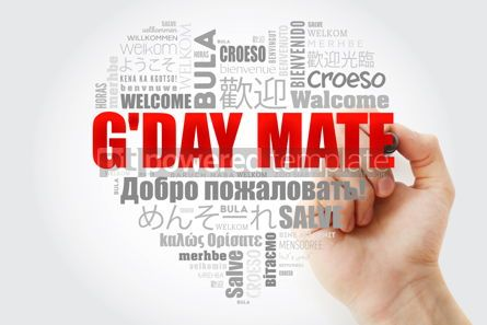 Business: G'day Mate Welcome in Australian love heart word cloud in diff #14695