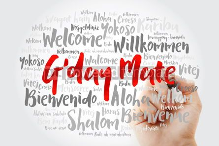 Business: G'day Mate Welcome in Australian word cloud in different langu #14696