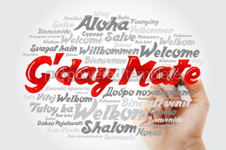 Business: G'day Mate Welcome in Australian word cloud in different langu #14697