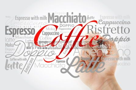 Business: List of coffee drinks word cloud with marker design background #14698