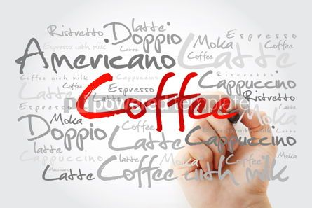 Business: List of coffee drinks word cloud with marker design background #14699