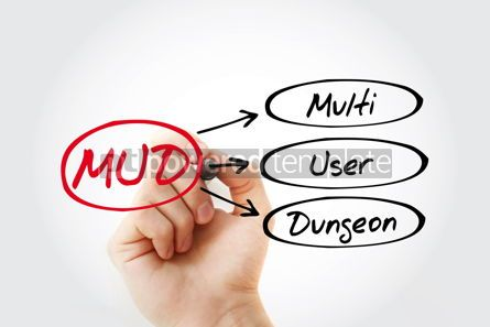 Business: MUD - Multi User Dungeon acronym technology concept background #14742