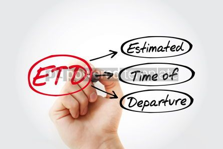 Business: ETD - Estimated Time of Departure acronym with marker business #14754