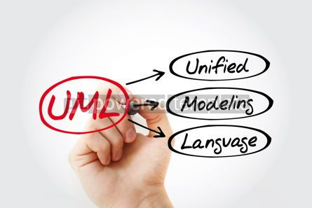Business: UML - Unified Modeling Language acronym technology concept back #14780