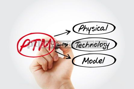 Business: PTM - Physical Technology Model acronym concept background #14782
