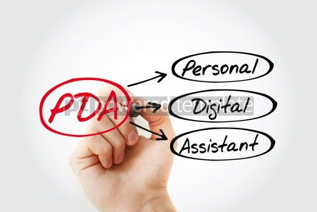 Business: PDA - Personal Digital Assistant acronym with marker technology #14788