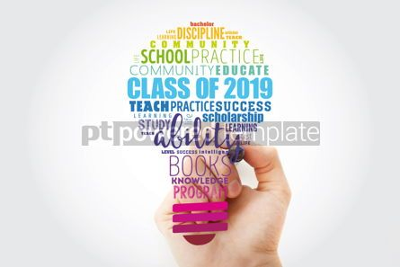 Business: CLASS OF 2019 light bulb word cloud collage education concept b #14823