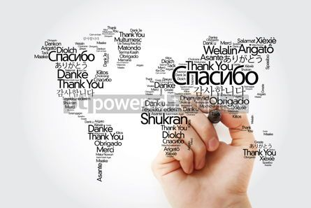 Business: Thank You in many languages World Map in Typography word cloud w #14825