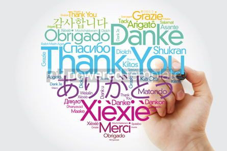 Business: Thank You Love Heart Word Cloud in different languages with mark #14827